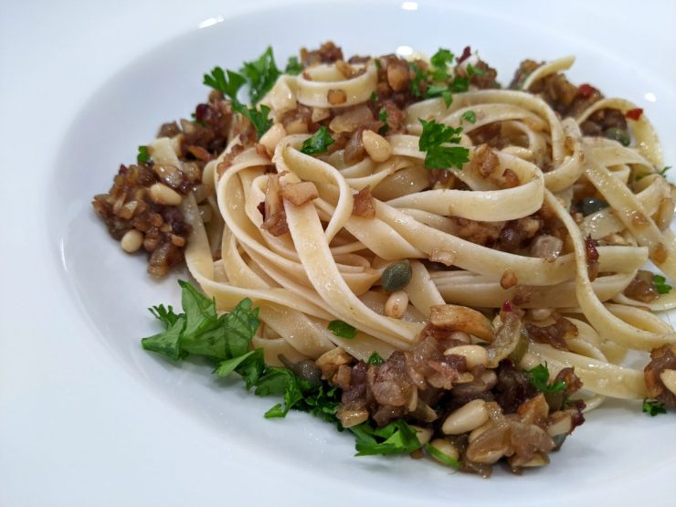 Fettuccine Pasta with Anchovies and Garlic Recipe-Confident in the Kitchen-Jean Miller