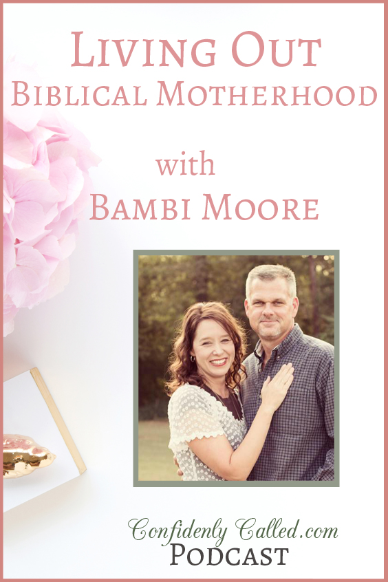My guest, Bambi Moore, encourages you as a Christian mother as she discusses responding to children with patience, modeling Christ through daily life & more