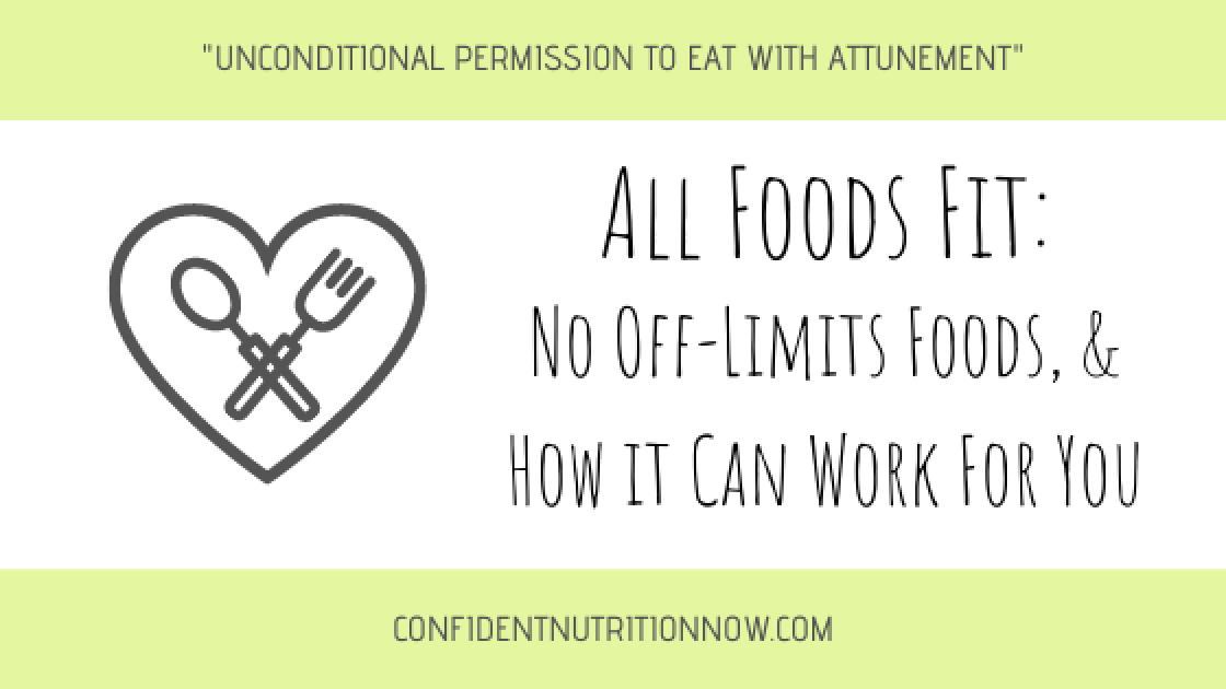 """Image header: all foods fit, how it can work for you - """"unconditional permission to eat with attunement"""""""