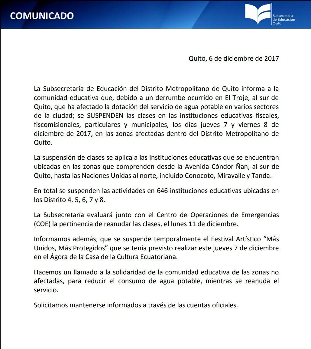 Suspenden clases en 646 instituciones por falta de agua — Quito