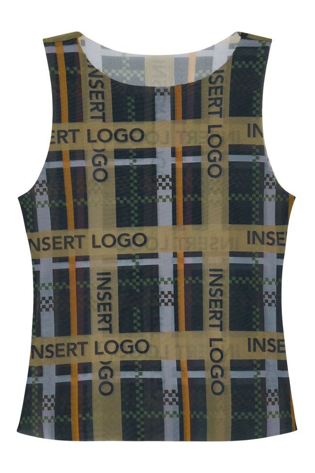 Printed mesh tank top in iconic 'Insert Logo' check print