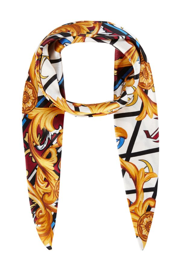 Ornate hand painted scarf print silk headband