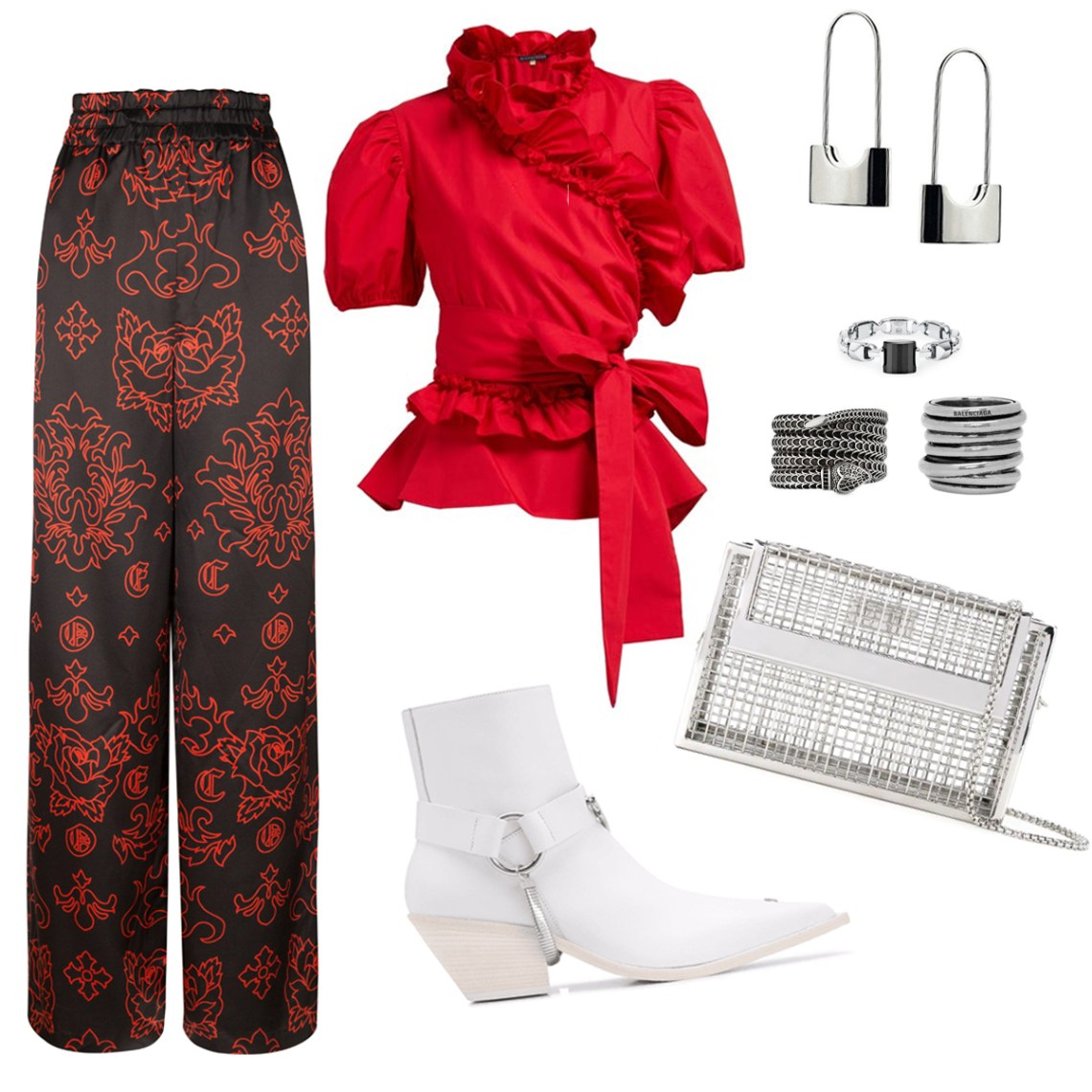 Outfit idea for the silk Tamar Wide Leg Pant. Pair with a red ruffle top and white cowboy boots.