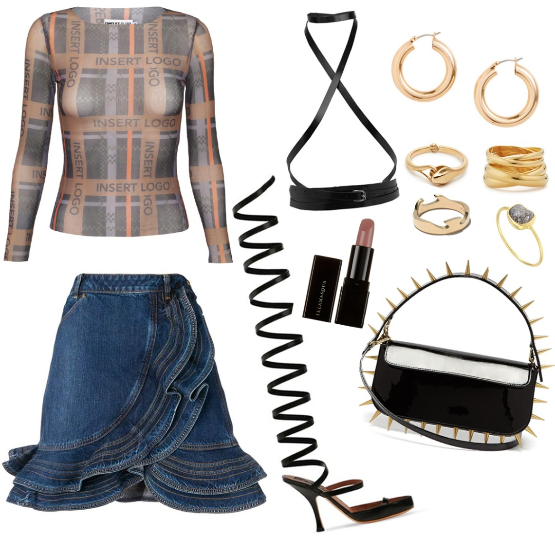 Outfit idea for the Becki Mesh Top. Team with killer heels, a harness and that all important ruffle denim skirt.