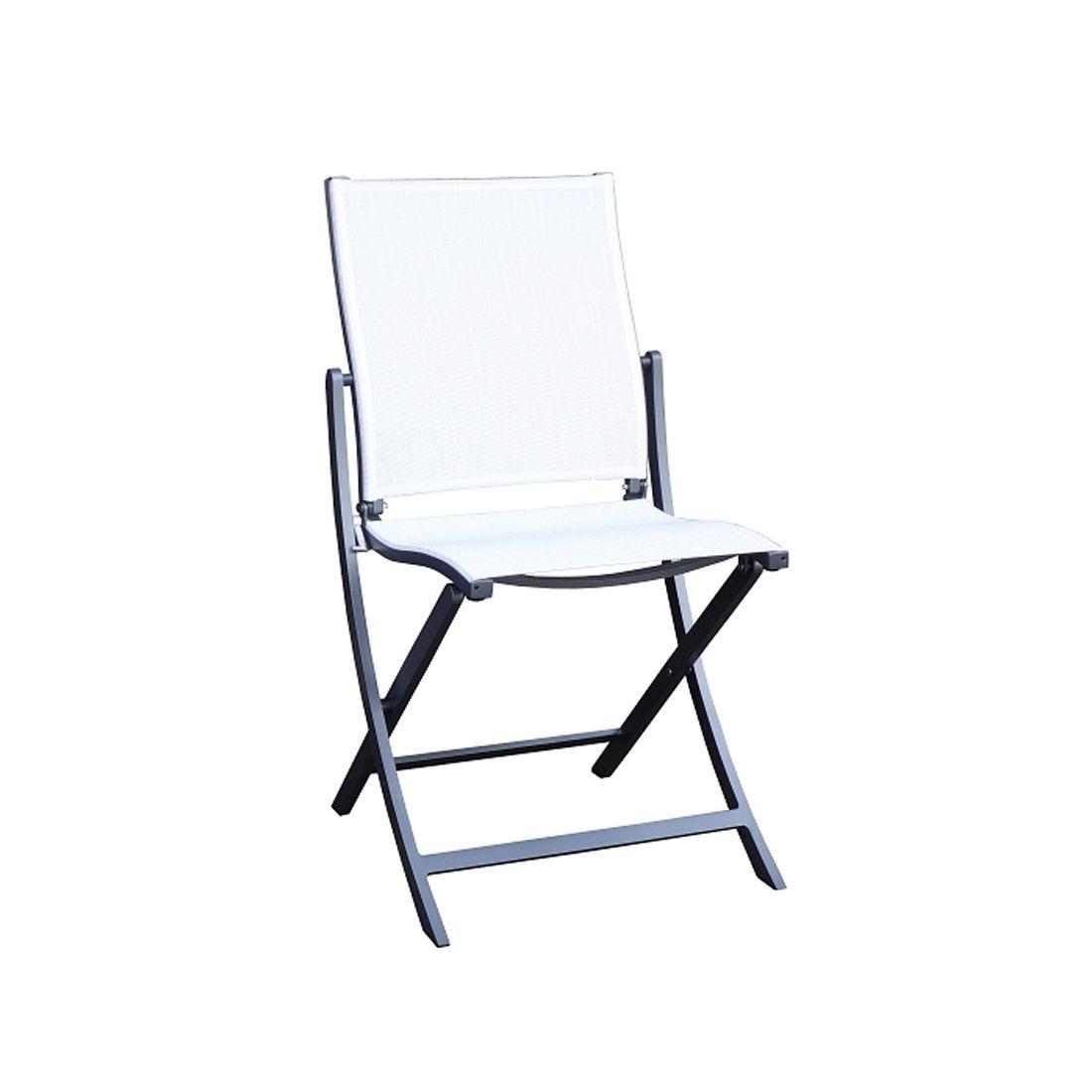 chaise pliante koton structure gris espace toile blanc chine les jardins
