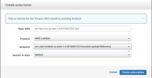 Amazon SNSとLambda関数の連携方法