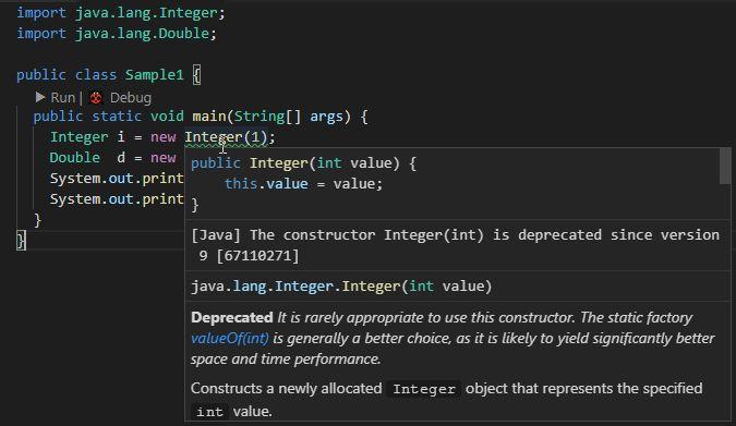 Java9からIntegerとDoubleが非推奨になっていました