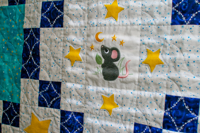 Mouse and Stars Baby Quilt