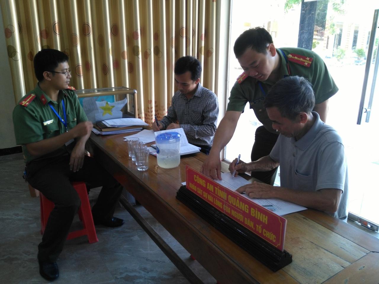 Công an tỉnh Quảng Bình: Khảo sát sự hài lòng của người dân, tổ chức năm 2019