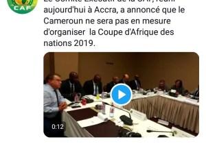 Officiel : le Cameroun perd l'organisation de la CAN 2019