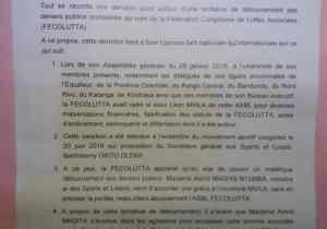 La Fecolutta demande à Tshibala d'annuler l'arrêté de Madiya, grâciant Mvila