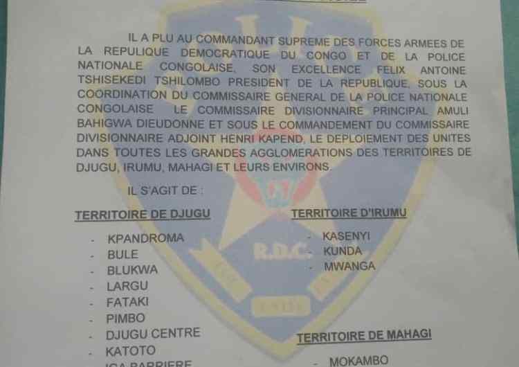 RDC : d'importants renforts de police déployés dans les territoires de Djugu, Mahagi et Irumu