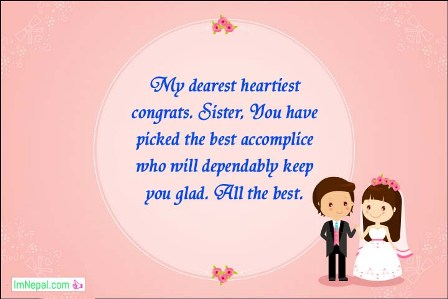 Congratulations Best Wishes For Wedding Marriage Sister