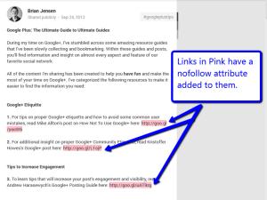 Google Plus nofollow links