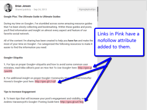 Google Plus nofollow links