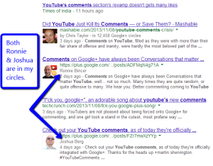 Example of Google Personalized Search Results