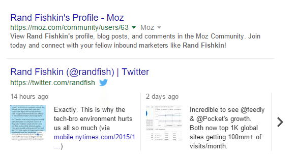 branded search for Rand Fishkin in Google Search displaying a Tweet Carrousel