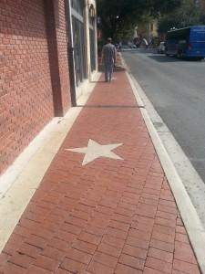 My Bob walking on the walk. Texas Stars are seen everywhere.