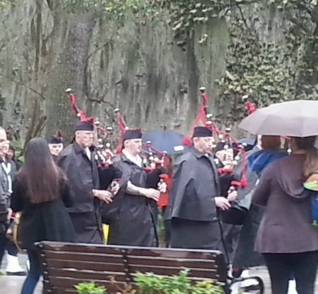 The Dublin, GA fire brigade ushering in the dignitaries for the opening ceremonies in Forsyth Park.