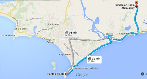 Clique no mapa para ver a rota para a Fundação Pablo Atchugarry