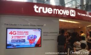 Onde comprar chip de celular com internet da True Move Aeroporto, Bangkok.