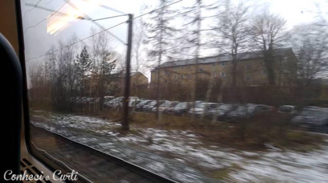 Olhando a neve pela janela do trem - Alemanha.