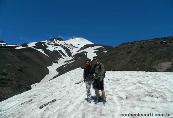 Subindo o Vulcão Villarrica no verão. Pucón.