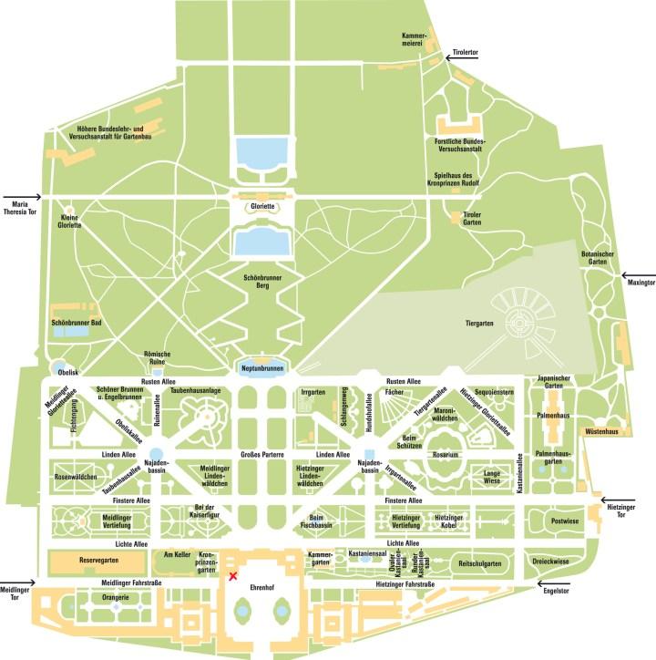 Planta do parque do Palácio Schönbrunn.