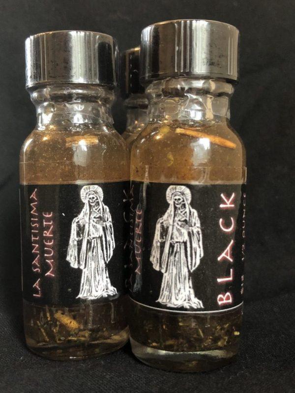 La Santisima Muerte Oil (Black), conjure root work Hoodoo supplies by Kevin Trent Boswell