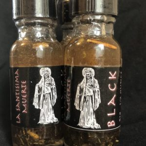 La Santisima Muerte Oil (Black), conjure root work Hoodoo supplies by Kevin Trent Boswell