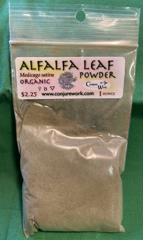Alfalfa Leaf Powder, Medicago sativa, sorcery, Conjure Work, herbs, magick, Golden Dawn, Solomonic, Wicca, astrology