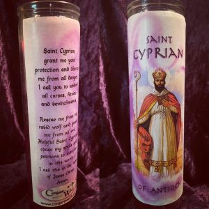 Saint Cyprian of Antioch, glass novena, 7 day candle, purple, Conjure Work, sorcery supplies