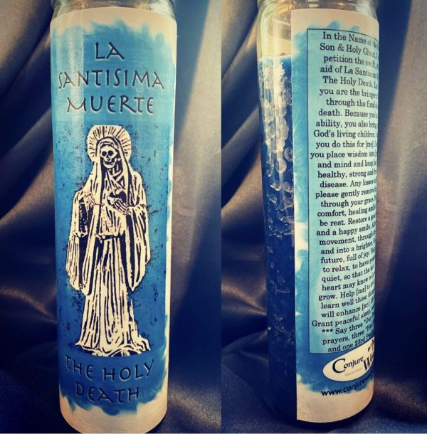 La Santisima Muerte Candle, Blue, glass novena candle