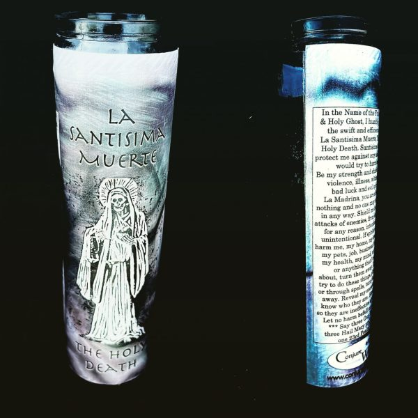 La Santisima Muerte Candle, Black, glass novena candle