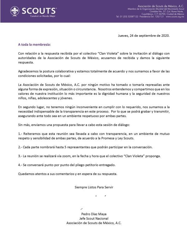 Comunicado de la ASMAC en el que el jefe scout nacional se compromete a dialogar con la colectiva Fogata Violeta.