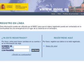 Web del Registro de Viajeros