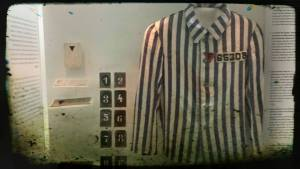 Traje de rayas del campo de concentración de Sachsenhausen