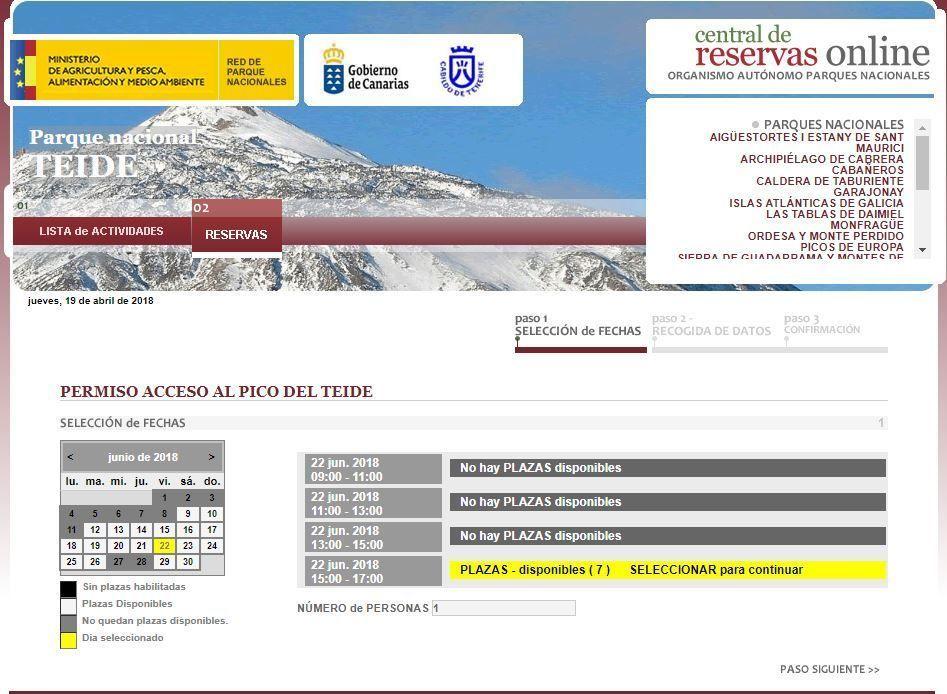 Captura - Selección de fecha, hora y número de permisos para subir al Teide