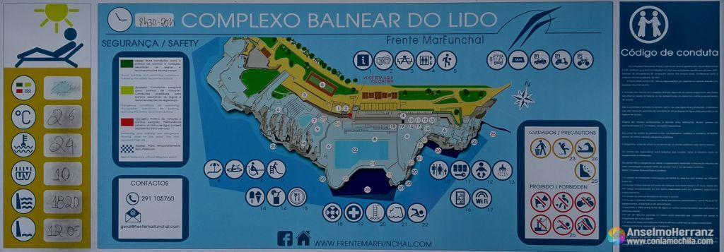 Mapa del complejo de baño de Lido - Madeira
