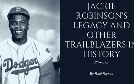 Jackie Robinson smiling in a Dodger uniform