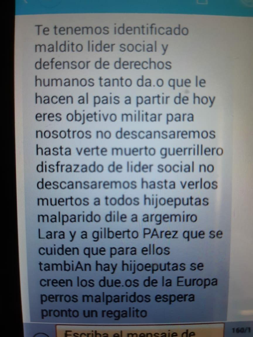 Imagen de la amenaza recibida por Andrés Narváez