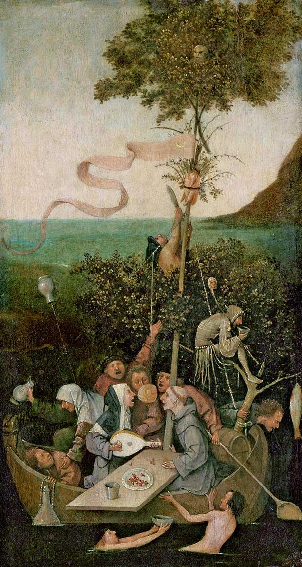 Jérôme Bosch, « La Nef des fous » (vers 1500, Paris, musée