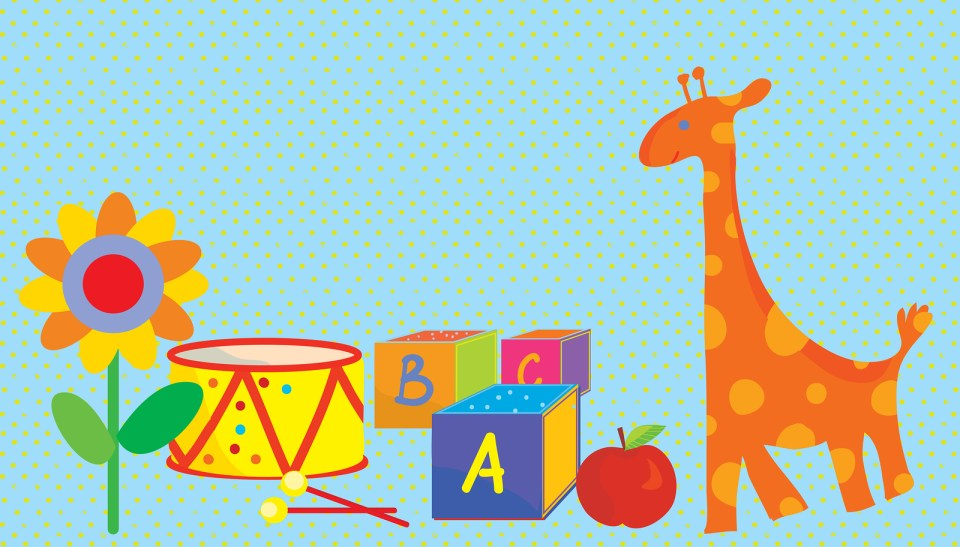 Baby background with toys, giraffe
