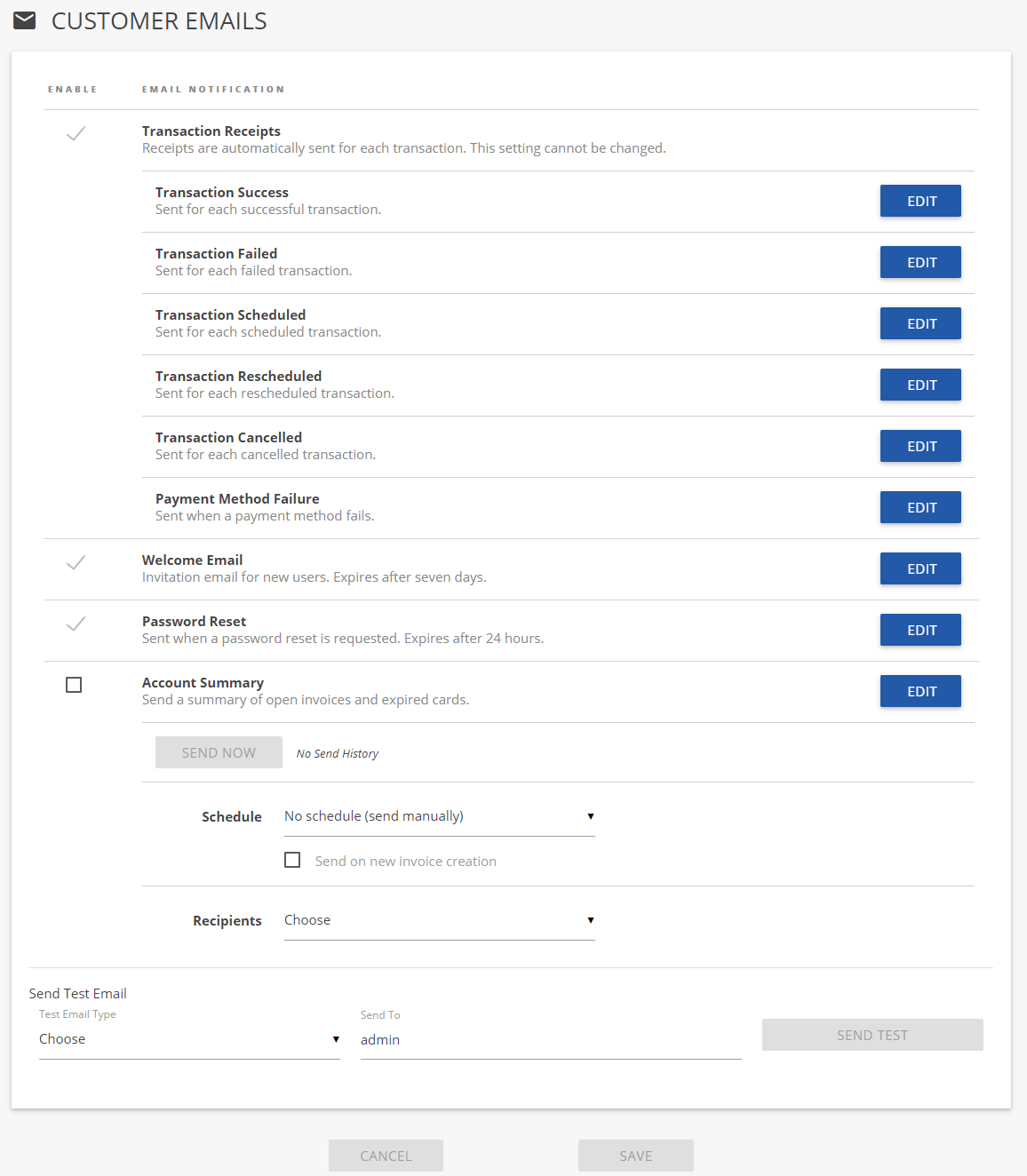 Customer Emails / Administration Usage / ConnectBooster