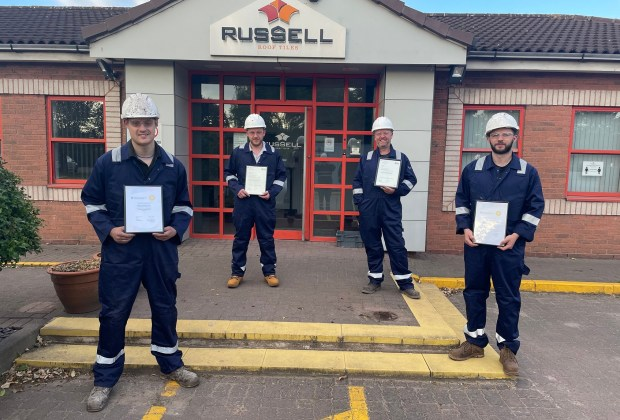 From L to R Kirby Charlesworth, Trainee Manager, Sean Rogers, Production Supervisor, Andy Illif, Assistant Works Manager and Otto Mathiesen, Maintenance Manager