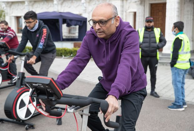 Sanjiv Patel at the Cycle to Save Lives static bike ride event-308da7b6