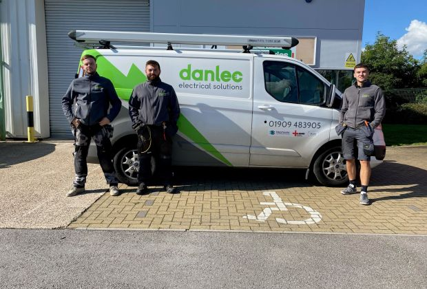 l-r Jack Cook, Kieran Blythe and Sam Shimwell from Danlec Electrical at their new Shireoaks Networkcentre base-6aabe2e2