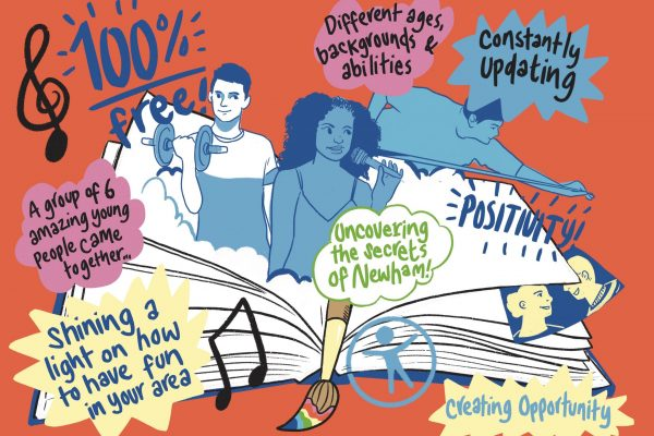 An illustration with young people emerging from an open book and text bubbles saying Positivity, Constantly Updating, A group of 6 amazing young people came together, creating opportunity