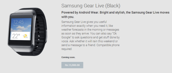 Samsung Gear Live Play Store Listing
