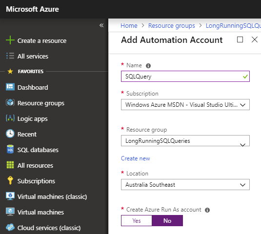 Using Azure Logic App and an Automation Runbook to execute a